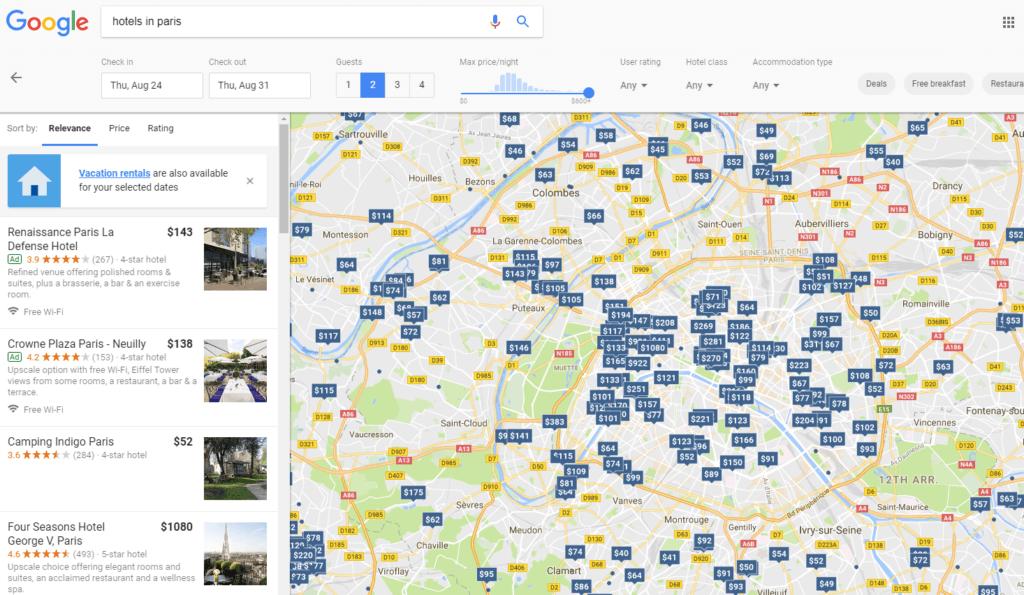 Google permet de consulter les offres de location sur sa for Recherche hotel sur carte