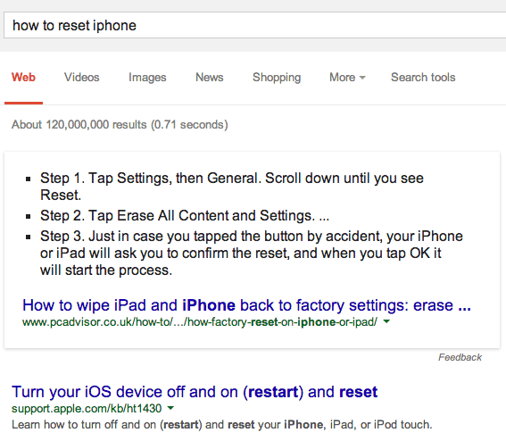 google-how-to-reset-iphone