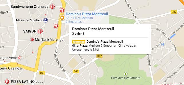 Annonce payante Adwords sur Google Map