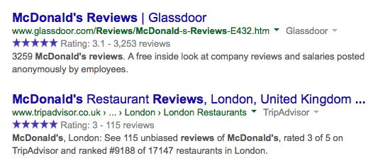 Google ratings blue stars