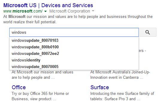 Seconde barre de recherche dans les résultats de Google