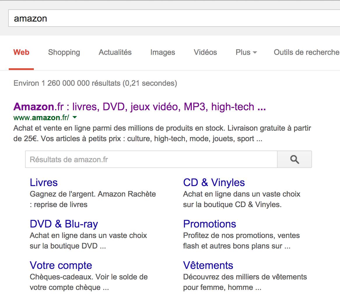 Résultat de recherche Amazon sur google.fr