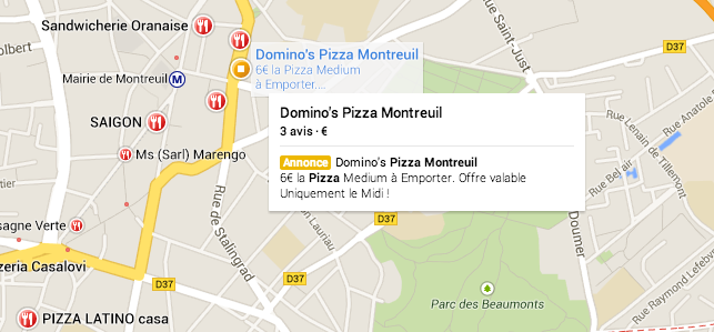 Annonce payante Adwords sur Google Map