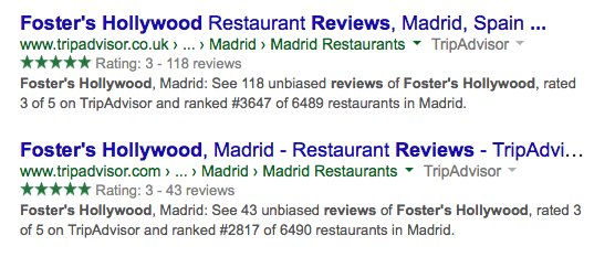 Google ratings green stars