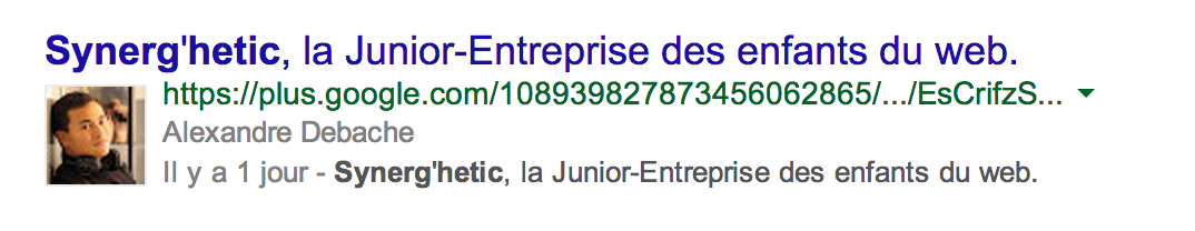 Illustration d'un rich snippet avec photo de profil de l'auteur sur Google