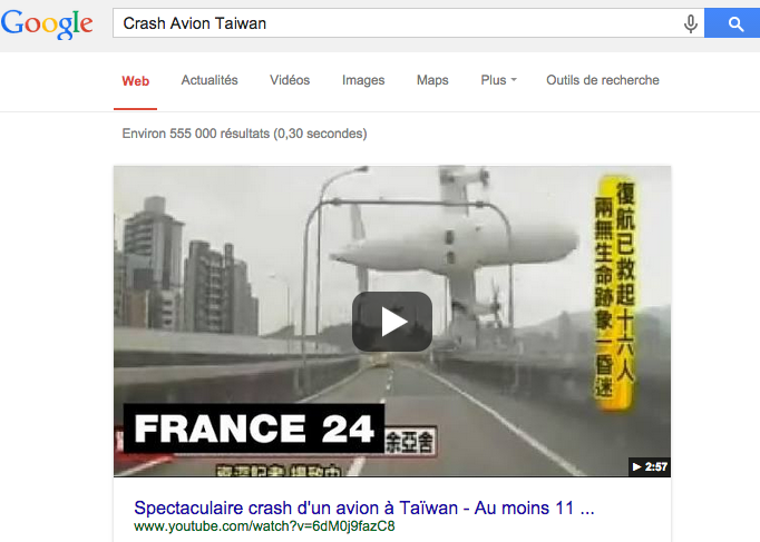 video crash avion Taiwan